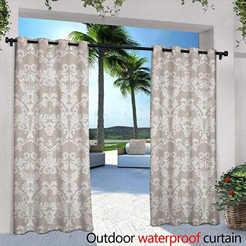 "Marilds Taupe Outdoor Blackout Curtain Nature Garden Themed Pattern with Damask Imperial Tile Rococo Inspired Stylized Room Darkening, Noise Reducing 96"" W x 72"" L Taupe and White"