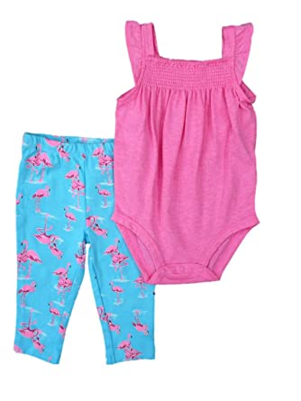 862490285a56 Image Unavailable. Image not available for. Color  Carter s Infant Girls  Pink Romper   Flamingo Print Leggings 2 PC ...