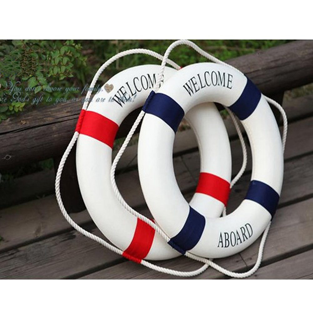 Welcome aboard boat ships life ring clock - Estone Decorative Welcome Aboard Nautical Lifebuoy Ring Wall Hanging Home Decoration Red 45cm 17 5 Amazon Co Uk Kitchen Home