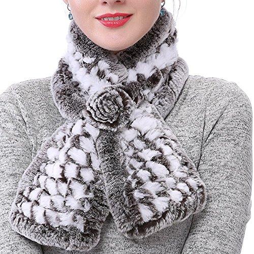 - Valpeak Women's Real Rabbit Fur knitted Winter Warm Neck Wrap Scarf Rose Design (White)