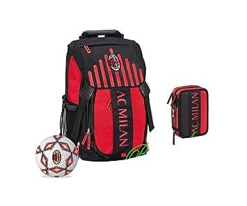 Mochila oficial AC Milan + Estuche 3 pisos Pieno + Balón Escuela: Amazon.es: Deportes y aire libre