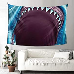 NiYoung Bohemian Wall Hanging Hippie Hippy Tapestry, Great White Shark Teeth Blue 3D Print Indian Multi-Purpose Decor Wall Tapestry, Queen Tapestries - Bedding Tapestry, Wall Tapestry