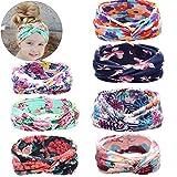 niceEshop(TM) 7 Pack Baby Girls Floral Print Headbands Newborn Cross Hairband Headwrap