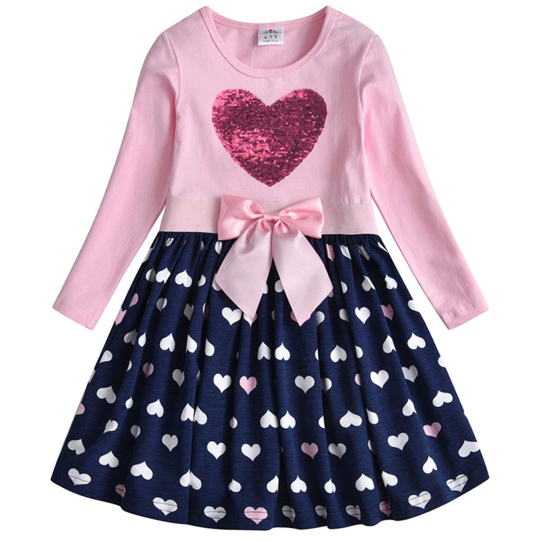 HILEELANG Girl Casual Dress Winter Long Sleeve Cotton Active Playwear Basic Tunic Outfit Dresses