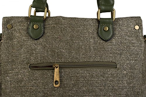 styleBREAKER bolso de asa de tela en estilo étnico con bordados, monedas y espejos, óptica de yute, bolso de bandolera, bolso, de señora 02012110, color:Verde oliva moteado Verde oliva moteado
