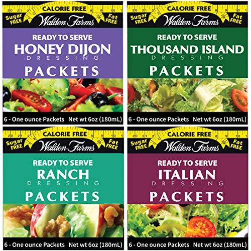 Walden Farms On-the-Go Salad Dressing Packets - 24 Packets in Ready to Serve Calorie Free Packs, 6-1 oz Pouchesin Honey Dijon, Thousand Island, Ranch and Italian Flavors