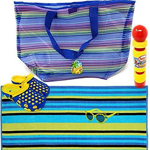 Price comparison product image Beach Towel, Beach Bag, Kids Sunglasses, Kids Clogs, Pool Toy: Foam Pumper 5 Piece Bundle(Blue/Yellow, Size J3)