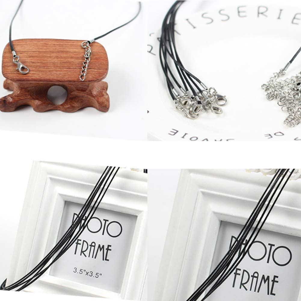 Wax Cord String Necklace Chain with Lobster Claw Clasp for DIY Crafts Pendants Bracelet Necklace and Jewelry Making Frgasgds 100 PCS Bulk Necklace Cord with Clasp and Extension Chain