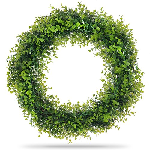 Artificial Boxwood Wreath with Durable Metal Wreath Hanger - Extra Large 22 Inch Design for Front Door and Wall - Beautiful Long-lasting and Weather Resistant Decoration for Indoor and Outdoor Use