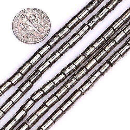 (Pyrite Beads for Jewelry Making Natural Semi Precious Gemstone 4x6mm Column Silver Gray Strand 15