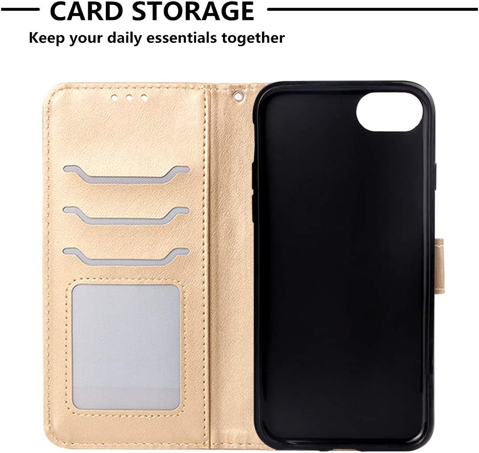 iPhone 7 with Stand Feature Card Holder Magnetic Closure Lomogo Leather Wallet Case for iPhone 8 LOYBO470030 Purple iPhone8 Shockproof Flip Case Cover for Apple iPhone7