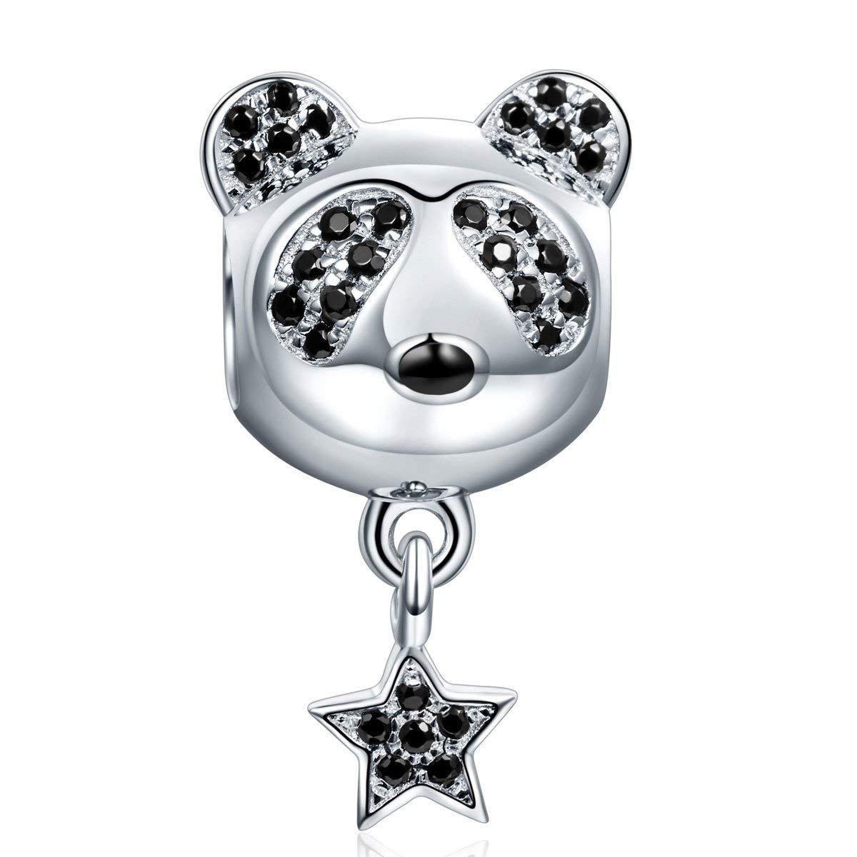 SGS passante Free Nickel NINAQUEEN Panda stella Ciondolo Bead da donna argento sterling 925 Elegante confezione regalo