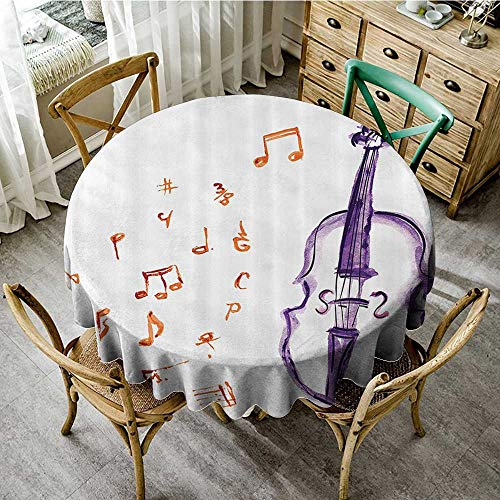 familytaste Round tablecloths Music Decor,Musical Notes Instrument Violin Cello Watercolor Based White Backdrop Print,Purple and Red D 54