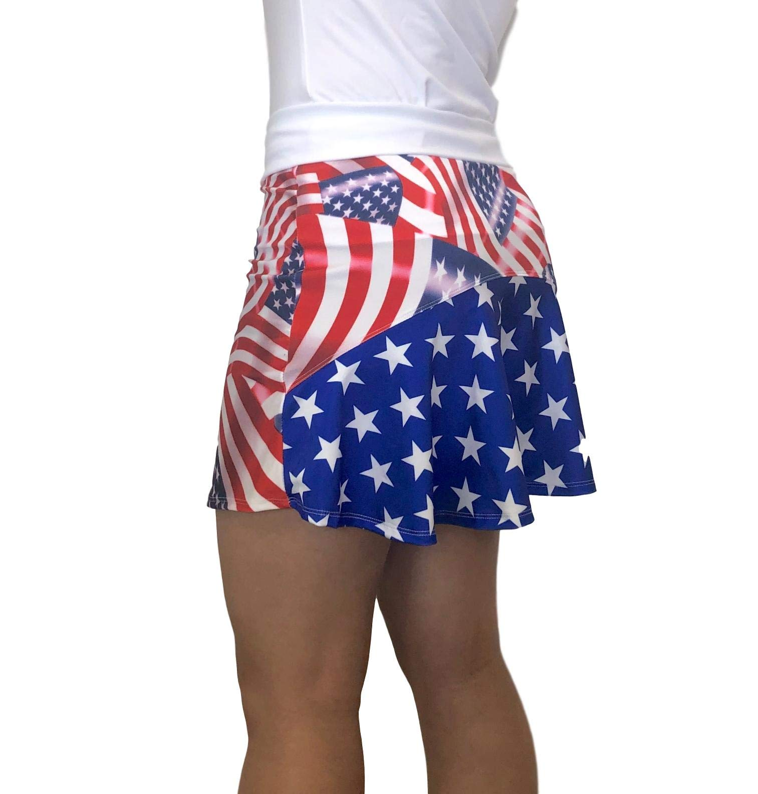 Smash Dandy American Flag Flutter Style Golf/Tennis Skort/Skirt (Medium) by Smash Dandy