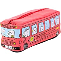 Cute Kids Bus Animal Print Canvas Pencil Case Pen Box Pen Bag Student Stationery Red