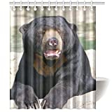 CTIGERS Animal Theme Shower Curtain Funny Black Bear Open Its Mouse Polyester Fabric Bathroom Decoration 60 x 72 Inch