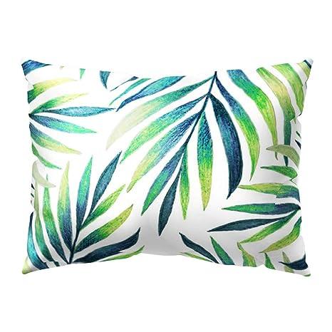 quanjucheer Funda de Cojín Rectangular para sofá de Cama, Diseño de Hojas de Color Verde Tropical, 15#, 30cm x 50cm
