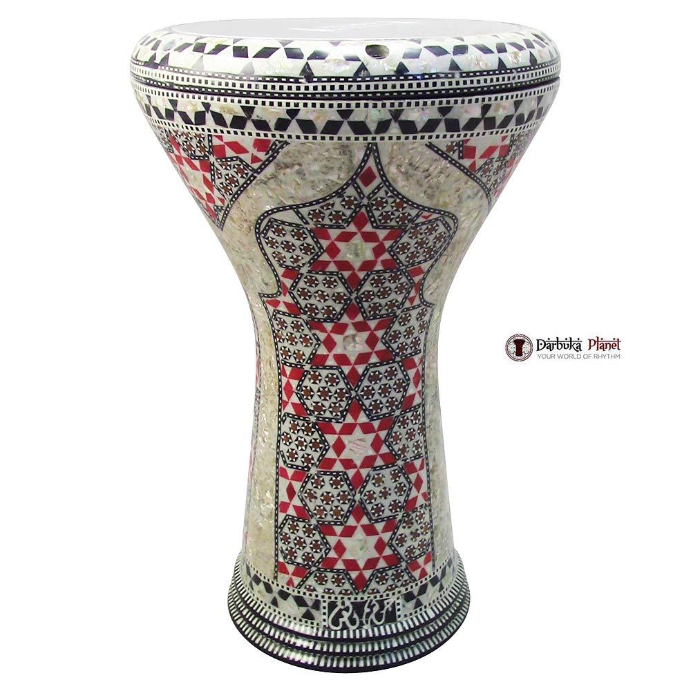 The''Red Palace'' Gawharet El Fan Darbuka 17'' Drum Mother of Pearl Darbuka by Gawharet El Fan