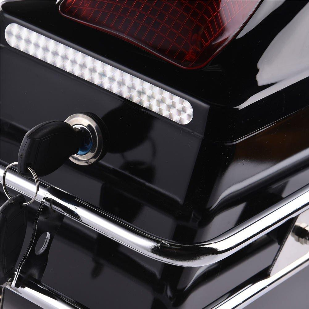 2Pcs Tail Box Tour Pack SaddleBags Luggage Case w//Lights Mounted for Harley Honda Yamaha Suzuki Cruiser ACUMSTE Motorcycle Trunk
