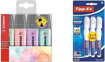 STABILO BOSS Original PASTEL - Marcador - Estuche 4 colores + BIC Tipp-Ex Shake`n Squeeze - Pack de 2 + 1 bolígrafos correctores líquidos, 8 ml: Amazon.es: Oficina y papelería