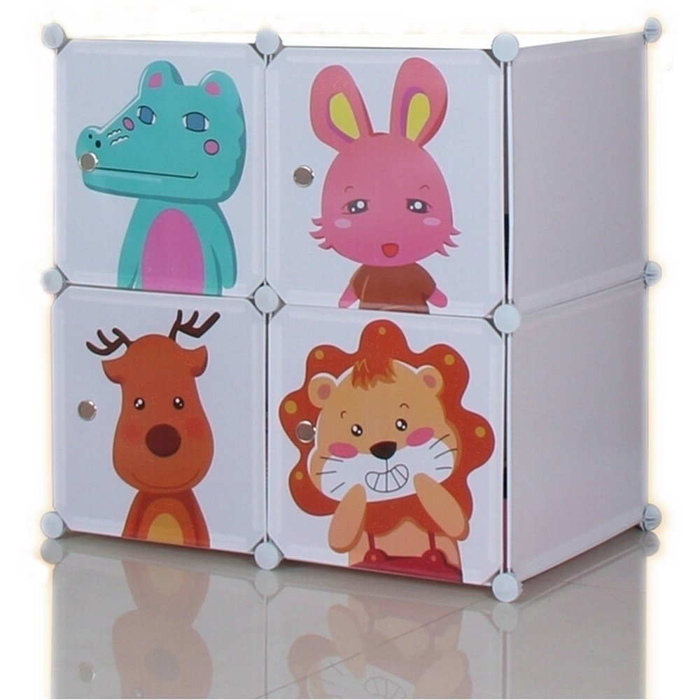 Niubai Kids Toy Cloest DIY 4 Cube Plastic Storage Box for Kids Children Furniture Creative Combination Cabinet (White) by Niubai (Image #1)