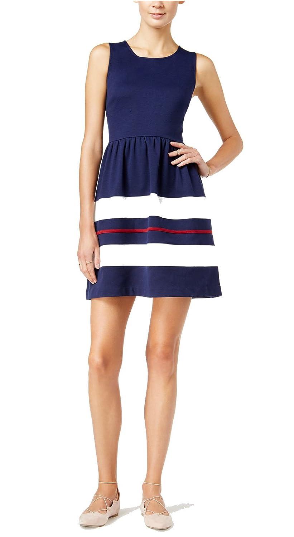 bluee Notte Combo Maison Jules Womens Striped Skirt Sleeveless Casual Dress
