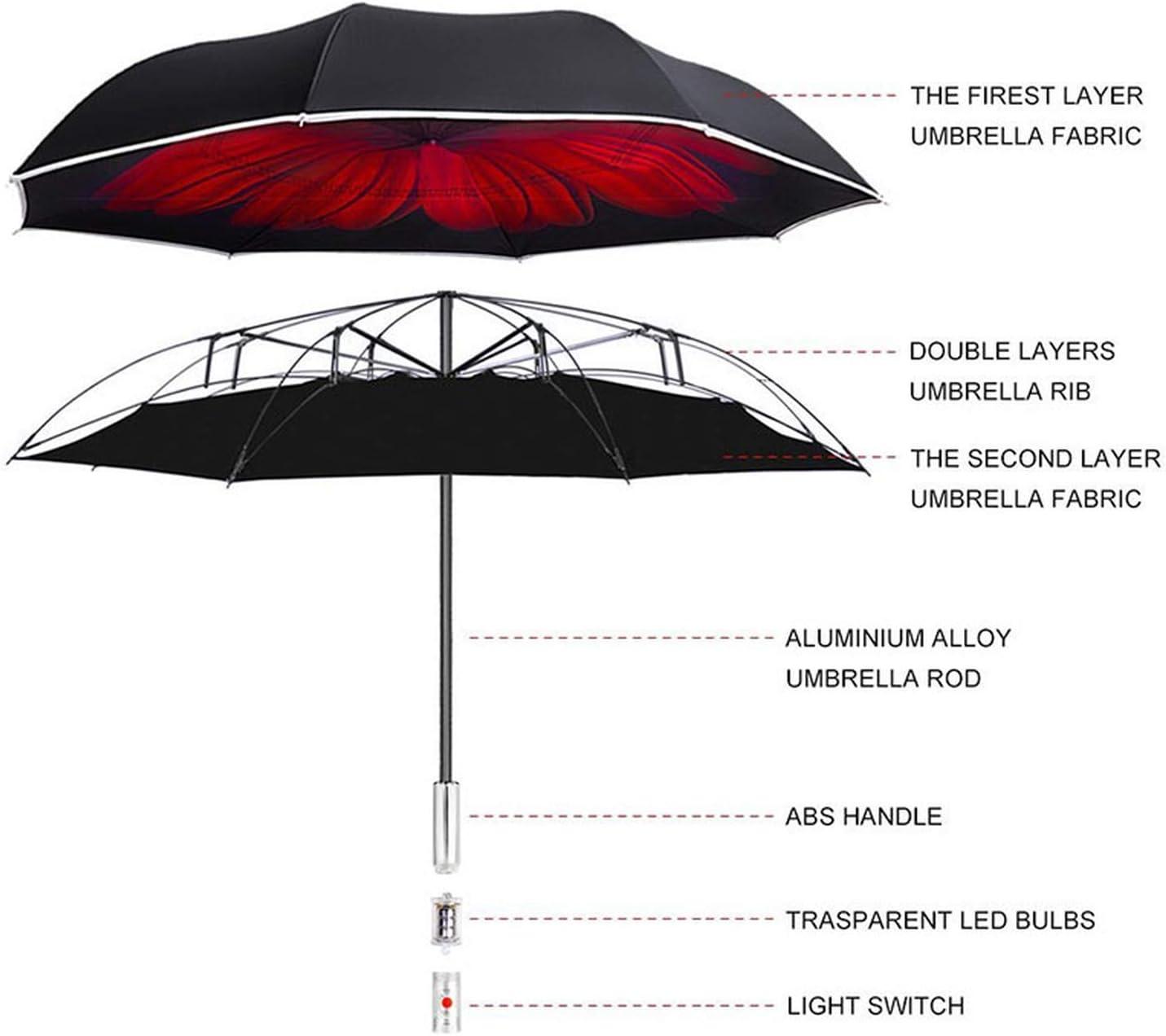 Folding Reverse Umbrella Double Layer Inverted Handle Warning Light Windproof Rain Car Auto Open Uv Protection Umbrellas,Gray