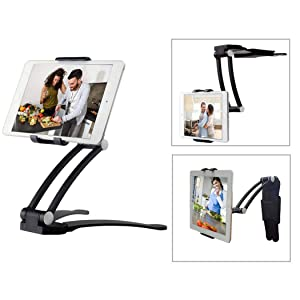 "Moutik Kitchen Tablet Holder, Tablet Bracket Adjustable arm Phone fits 4-10.5"" Tablets Phone Kitchen Cabinet Desktop Mount Stand"