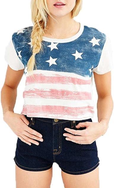 Short Sleeve Stripes Star American Heart Printed Tops Loose T-Shirts KLFGJ Womens Patriotic Blouses