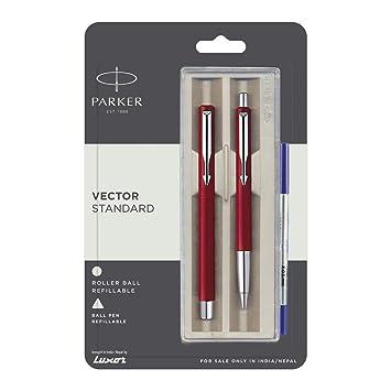 Fine Rollerball Parker Vector Standard CT Roller Ball Pen Blue Ink /& Red Body