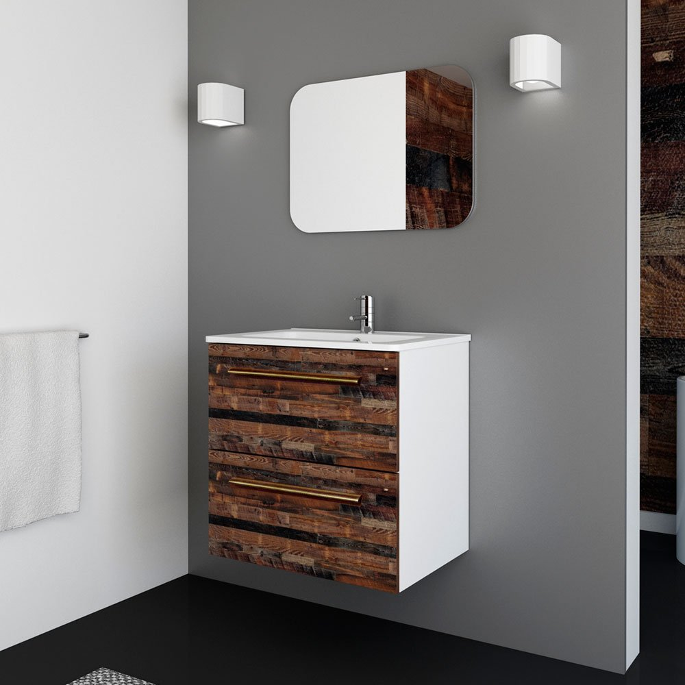 Randalco 24'' Maine Modern Bathroom Vanity Cabinet Set | 24 x 24 x 18 Inch Vanity Cabinet + Ceramic Top + Mirror | Cognac Wood Looking Finish by Randalco (Image #2)