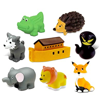 Dollibu Bath Buddies Noahs Ark and Critters Rubber Squirter Toys - Boat, Fox, Hedgehog, Elephant, Lion, Wolf, Snake, Alligator - 3 inch - for Baths, Pool, Outdoor - Baby Bathtime Learning (8pc Set): Toys & Games