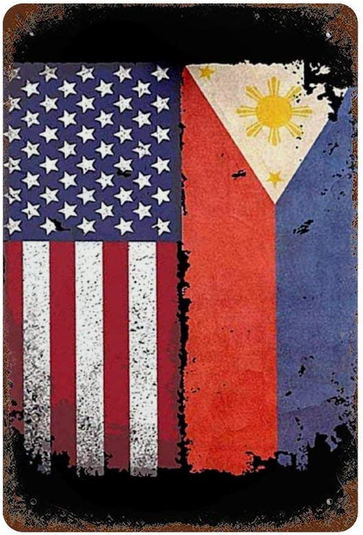 Lightning Tactics Philippines American Flag Signs Wall Vintage Retro Metal Art Tin Sign Wall Plaque Poster for Cafe Bar Pub Beer Wall Decor 8 x 12 Inches