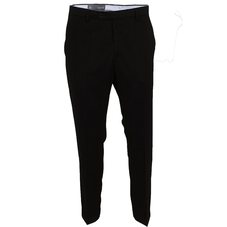 Cavani Mens Smart Formal Casual Plain Black Pants Slim Fit Suit Trousers