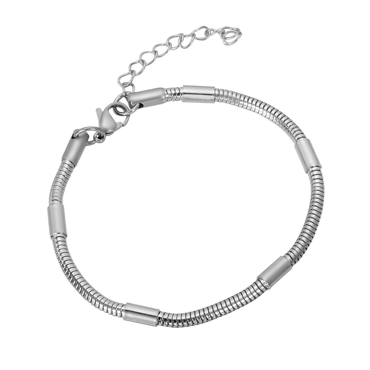 HooAMI Stainless Steel Round Snake Chain Charm Bracelet with Lobster Clasp
