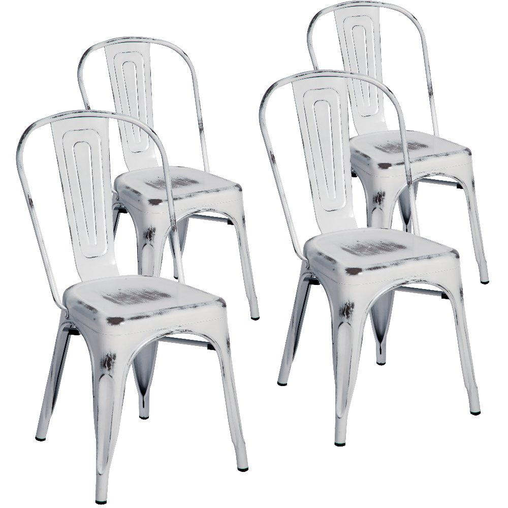 Merax Indoor-Outdoor Use Tolix Style Distressed Metal Bistro A Dining Side Chair Stackable Highback Chic Cafe Side Chair, Set of 4, (Antique White)