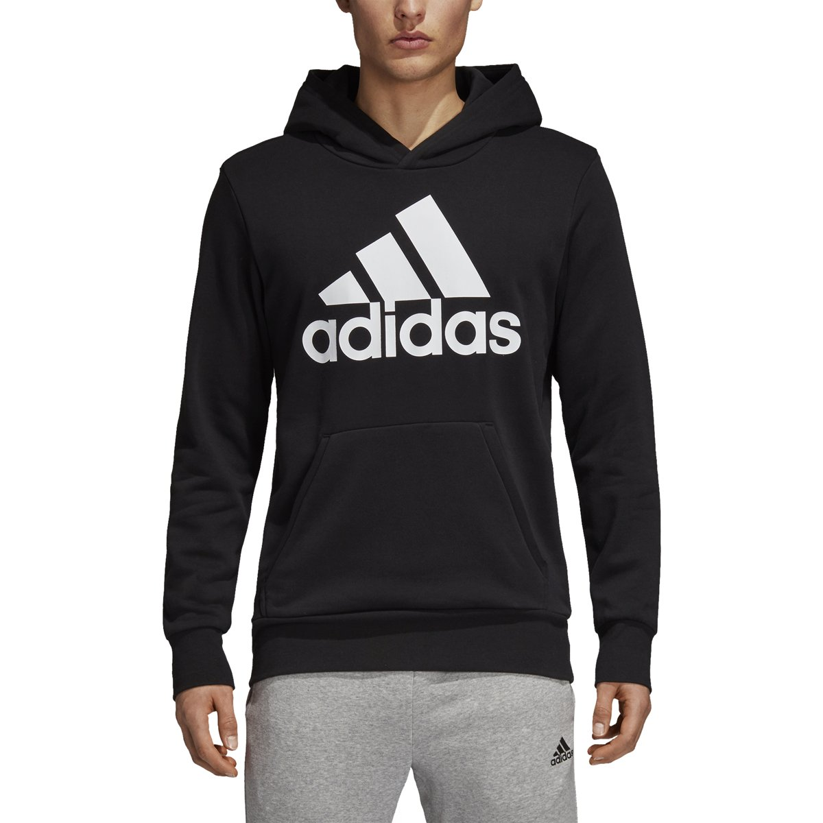 adidas Men's Athletics Essentials Linear Pullover Hoodie, Black, XX-Large by adidas