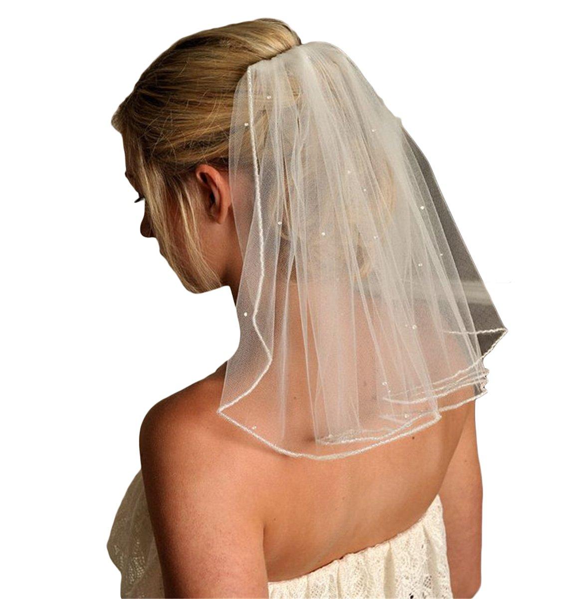Gotidy Short Cute First Communion Veils Single Tier Bridal Wedding Veils With Bead Ivory