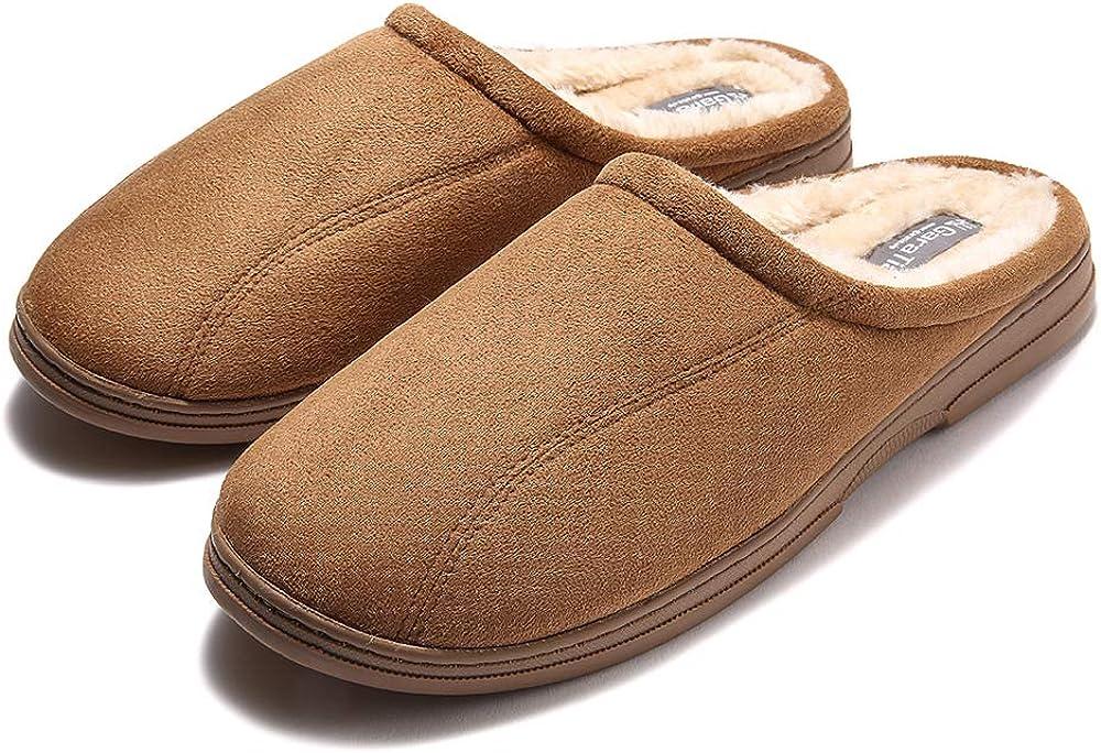 GaraTia Mens Fluffy Cozy Slipper Slip-on Clog Winter House Shoes Indoor & Outdoor
