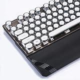 Ralon Mechanical Gaming Keyboard with LED Backlit, 104-Key Black Vintage Typewriter-Style Keyboard, Retro Steampunk QWERTY Keyboard Wired USB Metal Base and Round Keycaps Anti-Ghosting (KB-104-White)