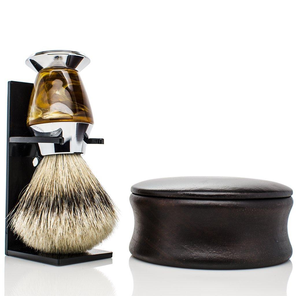 Maison Lambert PERSONALIZED Badger Shaving set - Include a wooden shaving bowl, a badger shaving brush and an organic shaving soap. Please your men with this shaving kit! (Silvertip Badger)