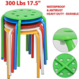 "300 Lbs 17.5"" Heavy Duty & Durable Stackable Plastic Stool Commercial Furniture Set Round Top Backless Seat Portable Stackable Bar Stools Great Choice for The Classroom, Home and Office (Pack of 5)"