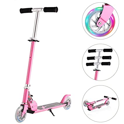 Kids Scooters Folding Portable Mini Kick Scooter Adjustable with 2 LED Light Up Wheels for Toddlers Girls Boys
