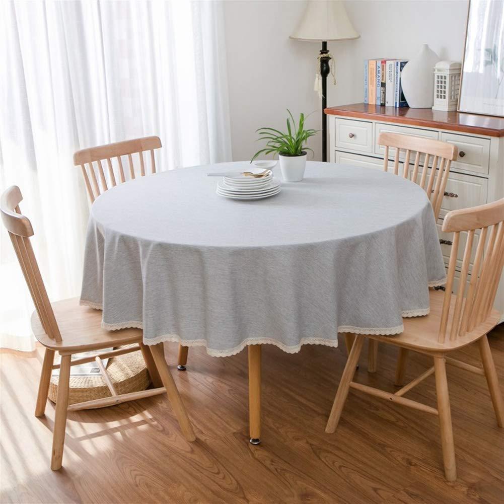 Insun Mantel de Mesa Redonda Antimanchas Lavable Mantel de Lino de Algod/ón con Encaje Bordes Manteles para Fiesta Cocina Comedor Mesa Amarillo 90cm Di/ámetro