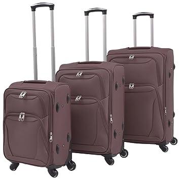 festnight 3 piezas Juego de maletas Trolley Blandas Negro/Rojo/Azul Marino/café