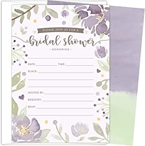 Koko Paper Co Bridal Shower Invitations. Set of 25 Fill-In Style Cards and White Envelopes. Light Purple and Green Florals Designs. Printed on Heavy Card Stock.