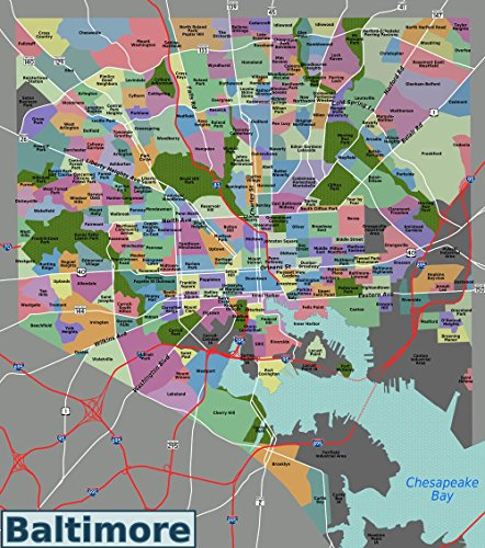 Gifts Delight Laminated 24x27 Poster: Baltimore Neighborhoods ()