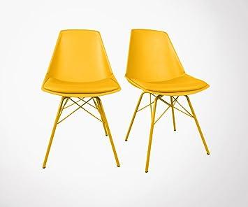 2 chaises Design ANJI Pieds métal - Couleur - Moutarde: Amazon.fr ...