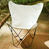 Retro Folding Butterfly Chair and Natural Beige Cover with Black Frame For Sale