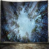 QiyI Forest Starry Tapestry Wall Hanging Nature Art Fabric Tapestry for Dorm Room,Bedroom,Living Room Decorations,90'' L x 60'' W-The Night in The Forest